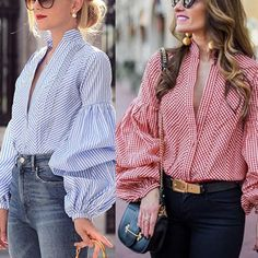 Deep V Neck Gingham Lantern Sleeve Blouses – shegenie Green Maxi, Elegant Outfit, Fashion Outfits, Womens Fashion, Dress Brands, Shirt Blouses, Shirts, Everyday Fashion, Sleeve Styles