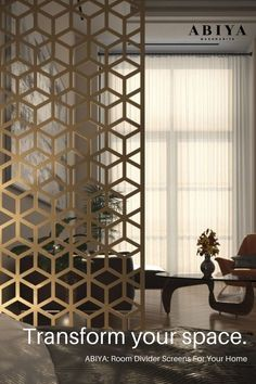 Home Decor Idea from ABIYA: Room Divider using Bespoke Decorative Metal Screens. ==>> Order online today! #abiya #mashrabiya #pattern # design #roomdivider #roompartition #decorativescreen #arabic #homedecor Metal Room Divider, Room Divider Screen, Room Dividers, Living Room Partition Design, Room Partition Designs, Decorative Screen Panels, Separating Rooms, Luxurious Bedrooms, Unique Home Decor