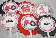 RED TRACTOR Cupcake Toppers / Tractor Toppers / by PinkInkCreation