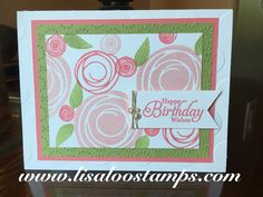 handmade card featuring Swirly Bird stamps ... luv the pink and green color combo ...  Stampin' Up!