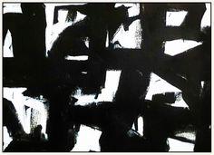"Black & White #38, 2016, enamel on canvas, 44"" x 62"" (111.8 x 157. 5 cm)"