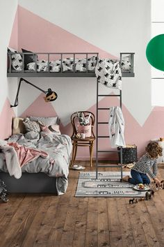 When decorating a kid's room, designers (and design-minded parents) tend to give themselves more creative license to let loose and fill the space with their most whimsical and imaginative ideas. To borrow some of these bold ideas and inventive uses for li Built In Beds For Kids, Girl Room, Girls Bedroom, Kid Bedrooms, Child's Room, Shared Bedrooms, Class Room, Trendy Bedroom, Room Art