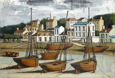 Pornic, fishing boats at low tide, 1972 by Bernard Buffet (1928-1999), oil on canvas (Loire-Atlantique)