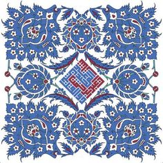 The floral design was copied from Iznik tiles in Rustem Pasha Mosque in Istanbul. Tile Art, Tiles, Indianapolis Museum, Arabic Calligraphy Art, Pottery Designs, Islamic Art, Ikat, Art Museum, Floral Design