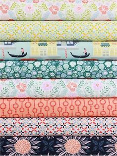 Kate Spain for Moda Fabrics, Grand Canal in FAT QUARTERS 8 Total