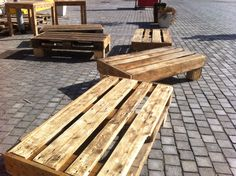low seats made from pallet wood...cushions coming soon....