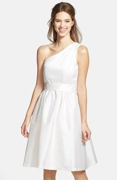 Alfred Sung One Shoulder Satin Fit & Flare Dress