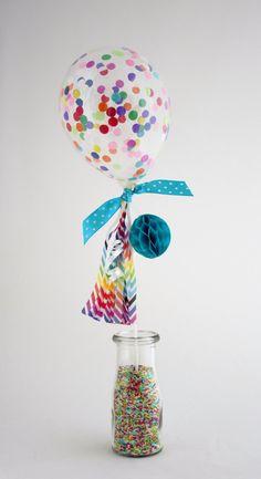 Confetti balloon cake topper - mini birthday balloon filled with rainbow confetti, honeybomb & mini tassel - customise your colours! by ThisLittleParty on Etsy