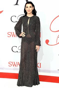 Julianna Margulies shimmered like a starry night in her sparkling, long-sleeved dress, sheer enough to reveal her undies!