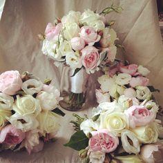 Rustic country wedding flowers in pale pinks and ivories www.sassafrasflowerdesign.com.au