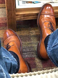 "Allen Edmonds ""Fifth Avenue"" — I wasn't sure how I'd like them on my feet while wearing jeans, but I'm diggin' it. Sock Shoes, Men's Shoes, Shoe Boots, Shoes Men, Versace Men, Gucci Men, Dress Shoes With Jeans, Best Looking Shoes, Allen Edmonds Shoes"