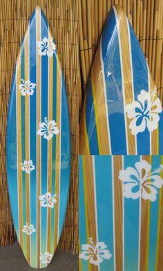TIKI SOUL DECORATIVE SURFBOARD ART - Hibiscus Rain Surfboard decor, beach  decor, surfer,