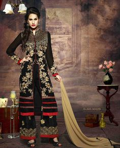 LATEST EMBROIDERED DESIGNER BLACK AND CREAM STRAIGHT SUITS - Rs 1762  http://www.istyle99.com/Salwar-Suit/LATEST-EMBROIDERED-DESIGNER-BLACK-AND-CREAM-STRAIGHT-SUITS-4193.html TOP FABRIC : FAUX GEORGETTE TOP COLOUR : BLACK BOTTOM FABRIC : SANTOON BOTTOM COLOUR : BLACK DUPATTA FABRIC : CHIFFON DUPATTA COLOUR : CREAM INNER FABRIC : SANTOON INNER COLOUR : BLACK WORK : EMBROIDERY PRODUCT TYPE : SEMI STITCHED WEIGHT : 1 KG OCCASION : PARTY, BRIDAL, WEDDING STYLE : STRAIGHT SUIT