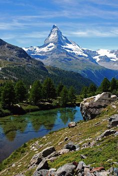 The Matterhorn and an alpine lake near Zermatt, Switzerland Copyright: Giorgio Mercuri