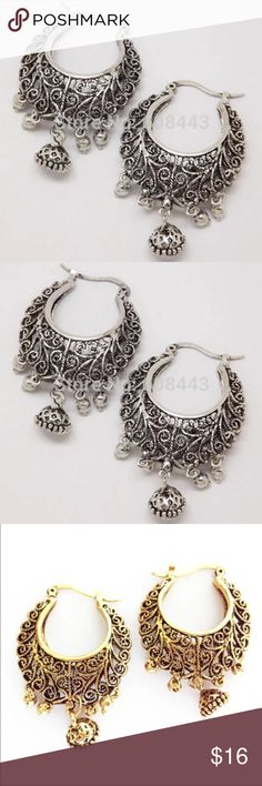 "Tibetan Silver or Gold Vine Antique Vintage Loop Stunning NWT Vintage Antique-Look Earrings. Select from gold or silver tones at checkout. Tibet intricately detailed swirl design with dangling charm embellishment. The detail is too intricate to be picked up in these photos... Brilliant design! 1 3/4"" long. Post clips into the back side for secure hold. We ship fast!  A FREE NWT gift is included with each purchase . Bundle for 15% discount with our Tibetan bracelets, a statement necklace, or…"