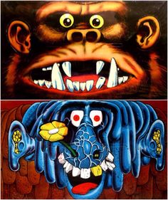 """zgmfd: """" 1967 Topps Block Heads paper masks Designed by Wally Wood and Basil Wolverton. Painted by Norman Saunders """""""