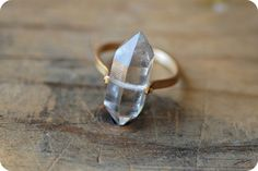 Herkimer Diamond, Gold Band Ring