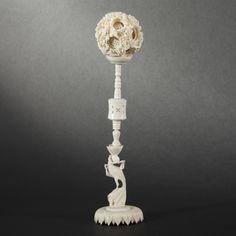 Boule en ivoire de Canton. XXe siècle Canton, Puzzle, Asia, Antiques, Home Decor, Homemade Home Decor, Puzzles, Antiquities, Riddles