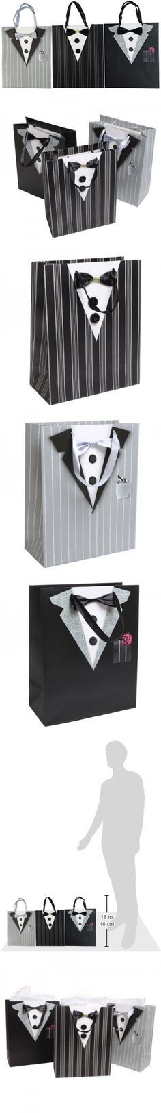 Dapper Wedding Groomsmen / Father's Birthday / Anniversary / Tuxedo Gift Bags and Tissues - (Set of 3)
