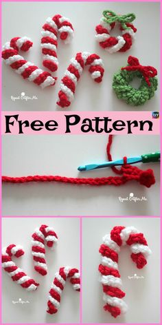 Easy Crochet Candy Canes – Free Pattern - crochet mug cozy Crochet Christmas Wreath, Crochet Christmas Decorations, Christmas Crochet Patterns, Crochet Decoration, Crochet Ornaments, Holiday Crochet, Diy Christmas Ornaments, Christmas Christmas, Christmas Knitting