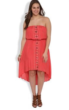 Plus Size Strapless High Low Dress with Embroidered Tribal Front