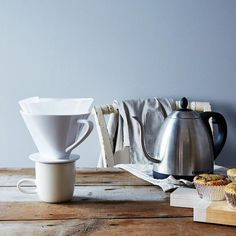 This multi-cup porcelain coffee pour over is such an easy way to make perfect coffee (or tea!) for one in the morning. #Food52