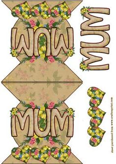 Mum with hearts and flowers on Craftsuprint designed by Debra Jenkinson - An easy cut and fold card with decoupage - Now available for download!