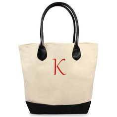 Custom Canvas Tote Bag with Leather Straps for Bridesmaids