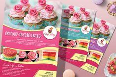 Cake Templates, Flyer Design Templates, Flyer Template, Poster Templates, Print Templates, Bake Sale Poster, Bake Sale Flyer, Sweet Cake Shop, Sweet Cakes