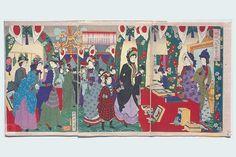 Ladies' Charity Party at the Rokumeikan Hashimoto Chikanobu November 1887 ; Era Meiji, Meiji Restoration, Taisho Era, Social Events, Triptych, Woodblock Print, Wood Blocks, Picture Show, Countryside