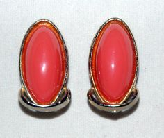 Vintage Coral Colored Oval Clip On Earrings by stowawayantiques, $3.00