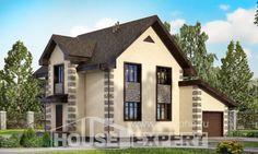 160-004-П Проект двухэтажного дома с мансардой, гараж, бюджетный домик из керамзитобетонных блоков