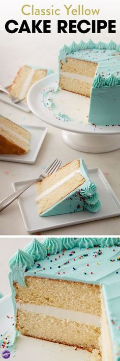 Yellow Classic Cake Recipe - Use this simple recipe to create a Basic Yellow Cake. This cake can be used in any cake, cupcake, loaf, or specialty pan. It provides a nice canvas for decorating and can be filled with your favorite filling.