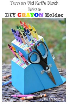 With the help of a drill (and some bold paint), this knife block gets a second life as a kid-friendly art station.