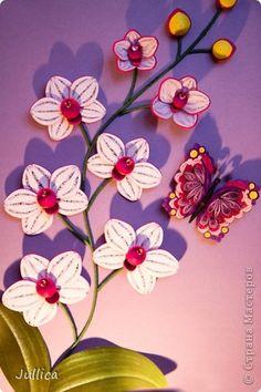 Картина панно рисунок Квиллинг Белая орхидея Бумажные полосы фото 3