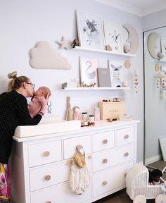Asas de madera natural en la cómoda IKEA Natural wood handles in the IKEA chest of drawers # comfortable # Baby room Ikea Baby Room, Ikea Nursery, Nursery Dresser, Baby Nursery Decor, Baby Bedroom, Baby Boy Rooms, Baby Boy Nurseries, Nursery Room, Kids Bedroom