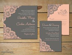 Rustic Lace Daisy Wedding Invitation // DIY Printable // Pewter Gray and Gold, Yellow. $45.00, via Etsy.