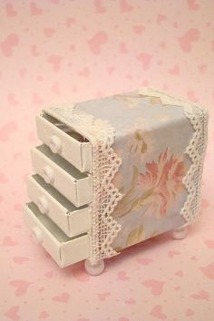Shabby Chic Matchbox Drawer. Good for a dollhouse or miniature sets