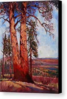 Pine Shadows Canvas Print by Erin Hanson.  All canvas prints are professionally printed, assembled, and shipped within 3 - 4 business days and delivered ready-to-hang on your wall. Choose from multiple print sizes, border colors, and canvas materials.