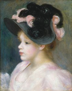 Young Girl in a Pink and Black Hat - Pierre-Auguste Renoir  ~1890