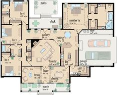 Country Style House Plans - 3042 Square Foot Home , 1 Story, 4 Bedroom and 3 Bath, 2 Garage Stalls by Monster House Plans - Plan 18-473