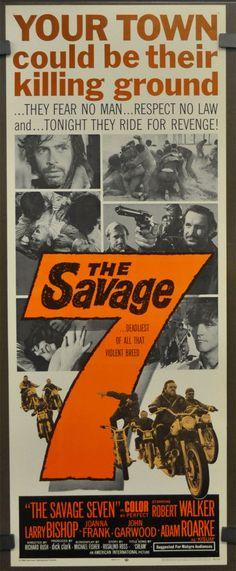 THE SAVAGE SEVEN 1968 ORIGINAL MOVIE POSTER 14X36 ROBERT WALKER JR. JOANNA FRANK