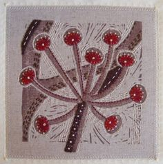 Lino print and embroidery. Applique Stitches, Wool Applique, Embroidery Applique, Machine Embroidery, Embroidery Designs, Textile Fiber Art, Textile Artists, Creative Textiles, Contemporary Embroidery