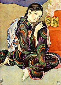 Japan antique art. illustrator / Kasyou Takabatake. kimono beauty lady. Showa period. 1930.