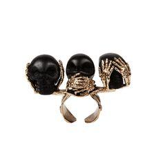 Bernard Delettrez bronze and ebony three wise Monkeys skull ring Bone Jewelry, Jewelry Rings, Jewelry Box, Three Wise Monkeys, Skull And Bones, Luxury Jewelry, Crystal Necklace, Women's Earrings, Bronze