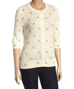 Loving this Ivory & Gray Polka Dot Cardigan - Plus on #zulily! #zulilyfinds