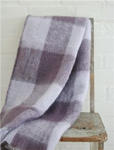 Plum check Mohair blanket and throws