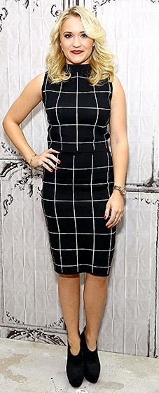 So classy! The Young & Hungry star went ladylike in a black and white striped knit dress with black suede ankle booties.