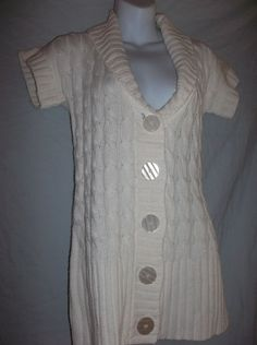 Wet Seal White Short Sleeve Cable Knit Cardigan Sweater Juniors Sz Large $12.99