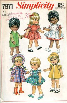 Original Vintage Doll Clothes Pattern Simplicity by BlondiesSpot, $25.99